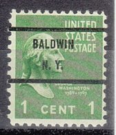 USA Precancel Vorausentwertung Preo, Bureau New York, Baldwin 804-71 - Vorausentwertungen