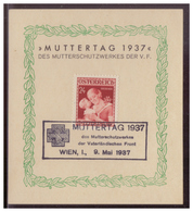 Österreich (008451) Gedenkblatt, Muttertag 1937, Mit SST Wien Vom 9,.5.1937 - 1918-1945 1st Republic