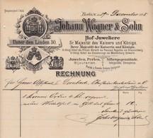 BERLIN JOHANN WAGNER SOHN HOF JUWELIERE JUWELEN PERLEN BIJOUTERIEN SILBERGEGENSTANDE ANNEE 1898 - Allemagne