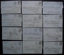 Bordeaux 1876 Lot De 12 Lettres L. Tardy, Lettre Pour Cette Affranchies Avec Timbre Sage 25 Centimes - Storia Postale
