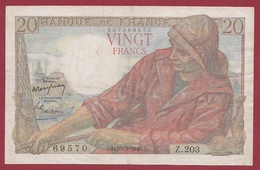 """20 Francs """"Pêcheur"""" Du 10/03/1949.L---TTB---ALPH .Z.203--AUCUN TROU D ' EPINGLE--DERNIER ALPHABET - 1871-1952 Anciens Francs Circulés Au XXème"""