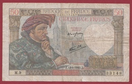 """50 Francs """"Jacques Coeur"""" Du 13/06/1940.J---TB---ALPH .M.9 - 1871-1952 Antiguos Francos Circulantes En El XX Siglo"""
