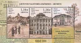 Lietuva Litauen 2017 MNH ** Mi. Nr. 1244-46 Bl.55 Restauration Of Lithuania - Lituania