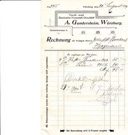 WURZBURG A GUNSERSHEIM TUCH UND BUCKSKIN VERSANDT GESCHAFT FACTURE RECHUNG ANNEE 1899 ENVOYE A HAGUENAU - Allemagne