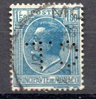 MONACO -- Timbre Perforé Perfin Luchung--  1 F. 50 Bleu Sur Azuré Prince Louis II --  C L  H 8 - 8 7  Indice 4 - Variétés