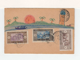 Sur Carte Avec Dessin Na¨f 3 Timbre Senegal Afrique Occidentale CAD Colis PostalDakar 1930. (2214t) - Lettres & Documents
