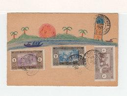 Sur Carte Avec Dessin Na¨f 3 Timbre Senegal Afrique Occidentale CAD Colis PostalDakar 1930. (2214t) - Senegal (1887-1944)
