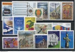 RC 16077 ANDORRE COTE 44,10€ - 2001 ANNÉE COMPLETE SOIT 15 TIMBRES N° 540 / 554 NEUF ** MNH TB - Années Complètes