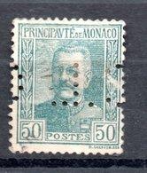 MONACO -- Timbre Perforé Perfin Luchung--  50 C. Vert-gris Prince Louis II --  C L  H 8 - 8 7  Indice 5 - Variétés