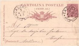 Caserta. 1891. Annullo Grande Cechio CASERTA (FERROVIA), Su Cartolina Postale - 1900-44 Vittorio Emanuele III