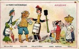 2 Cards Anthropomorphic Dressed Food Metamorphose C1890 Gastronomie  - Jambon Sausisson Moutons Vin Marron  Excelent - Other