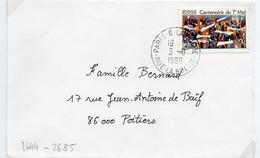 France N° 2644 Y. Et T. Paris 8 Cachet Type A9 Du 03/08/1990 Sur Lettre - 1961-....