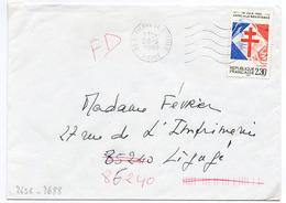 France N° 2656 Y. Et T. Nièvre St Pierre Le Moutier Flamme Ondulée Du 28/09/1990 Sur Lettre - 1961-....