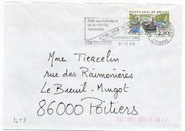 France N° 2658 Y. Et T. Rhône Lyon Guillotière Flamme Illustrée Du 31/10/1990 Sur Lettre - 1961-....