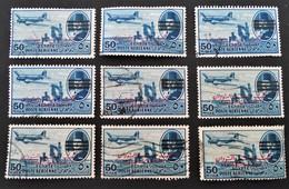 ROI FAROUK - SURCHARGE 3 BARRES 1953 - VARIETES DE SURCHARGES ET D'OBLITERATIONS - YT PA 66A - Poste Aérienne