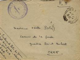 """15-6-43 - Lettre De CONSTANTINE En F M """" 7è Régiment De La Garde - CONSTANTINE - Pour Oran - Marcophilie (Lettres)"""