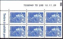 France Coin Daté N° 4231 ** Marianne De Beaujard Gommé Du TVP Bleu Sur TD 205  Du 10.11.09 - Dated Corners