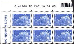 France Coin Daté N° 4231 ** Marianne De Beaujard Gommé Du TVP Bleu Sur TD 205 Du 16.04.08 - Dated Corners