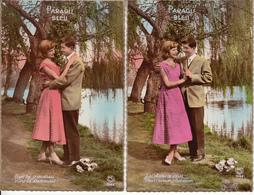 Fantaisie - Ancienne - Couple - Amour -  Carte Luxe - Lot De 4 Cartes - Couples