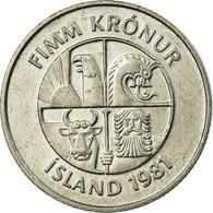 Monnaie, Iceland, 5 Kronur, 1981, TTB, Copper-nickel, KM:28 - Islande