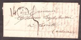 """LAC - 7 Mars 1852 - Privas Pour La Voulte - Port Dû Taxe 5 Décimes - """"14"""" ? - 1849-1876: Periodo Clásico"""