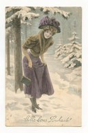 Illustrateur Signé . Bonne Année. Femme . Charme, Glamour - Other Illustrators