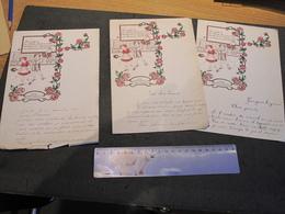 GRIVEGNEE - ECOLES COMMUNALES - 3 COURRIERS 1935/1938 - VOEUX DES ENFANTS AUX PARENTS - Manuscripts