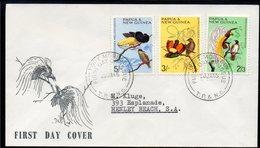 PAPUA NEW GUINEA, 1965 2/3d, 3/-, 5/- BIRDS FDC - Papouasie-Nouvelle-Guinée