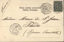 CPA Congo Belge Pirogues Haut Fleuve CAD Maritime Loango à Bordeaux LL N°4 20 Mai 04 YT 130 Semeuse Arrivée Prades 66 - Postmark Collection (Covers)
