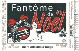 Etiquette Décollée Bière Fantôme De Noël Brasserie Fantôme Soy - Cerveza