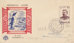 N° 316 (Madagascar) Obl. St Paul Et Amsterdam 31 DEC 53, Courrier Du St Marcouf + Antarctic Cover Manchot Et Otarie - Franse Zuidelijke En Antarctische Gebieden (TAAF)