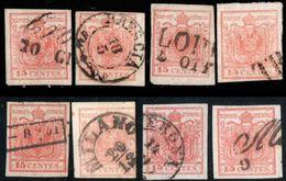 Lombardo-Venetia 1850 15 Centesimi 8 Stamps Lot, Both Papers AlI Cancelled - Austrian Period - 2003.1204 - Lombardy-Venetia