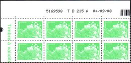 France Coin Daté N° 4229 ** Marianne De Beaujard Gommé Du TVP Vert Sur TD 215_B Du 04.09.08 - Dated Corners