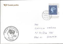 Envelope CSO 14 Service De Post Czech Republic Blue Mauritius 2017 - Briefmarken Auf Briefmarken