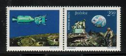 POLAND 1969 SPACE 1ST MANNED LUNAR LANDING MAN ON MOON +LABEL LEFT NHM Armstrong Aldrin Collins USA View Of Earth Crater - Ongebruikt