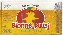étiquette Neuve Bière Blonne Kuusj Brasserie Grain D'orge Hombourg - Beer