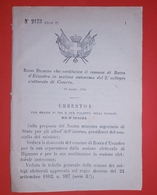 Decreto Regno Italia - Costituzione Rocca D'Evandro In Sezione Di Caserta  1884 - Non Classificati