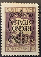 """FIUME 1924 - MLH - Sc# 185a - 10c - """"Regno D'Italia"""" - 8. Ocupación 1ra Guerra"""