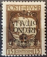 """FIUME 1924 - Canceled - Sc# 186a - 15c - """"Regno D'Italia"""" - Fiume"""