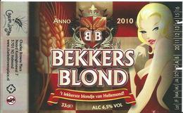 étiquette Neuve Bière Bekkers Blond Brasserie Grain D'orge Hombourg - Beer