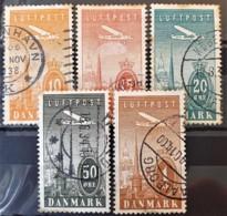 DENMARK 1934 - Canceled - Sc# C6, C7, C8, C9, C10 - AIR MAIL - Airmail