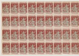 """Erinnophilie - Feuille De 36 Vignettes Exposition Bruxelles 1897 """"Anges"""". Rouge / Fragilisé à Certains Endroit. Gommé - Erinnofilia"""