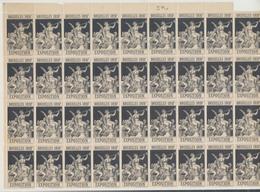 """Erinnophilie - Feuille De 36 Vignettes Exposition Bruxelles 1897 """"Anges"""". Noir / Fragilisé à Certains Endroit. Gommé - Erinnofilia"""