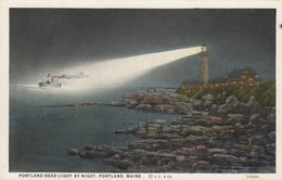 PORTLAND , Maine , 1910s ; LIGHTHOUSE At Night - Lighthouses