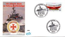 "BRD Schmuck-FDC ""125 Jahre Deutsche Gesellschaft Zur Rettung Schifbrüchiger (DGzRS)"" Mi. 1465 ESSt  3.5.1990 BONN 1 - FDC: Covers"