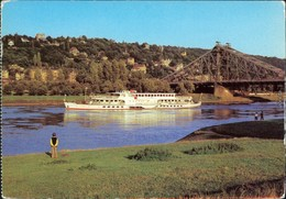 Dresden Blaue Wunder / Loschwitzer Brücke, Elbedampfer 1980 - Dresden