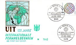 """BRD Schmuck-FDC """"125 Jahre Internationale Fernmeldeunion (UIT)"""" Mi. 1464 ESSt  3.5.1990 BONN 1 - FDC: Enveloppes"""