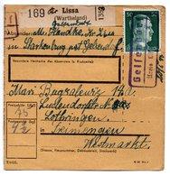 ALLEMAGNE  /  COLIS-POSTAL  /  De Lissa ( Wartheland ) / 25-1-1943 - Germany