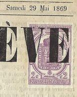 FRANCE 1869: Journal ''L'écho Du Salève'' En Entier (4 Pages Au Format A3) Du 29 Mai 1869, Affranchi Du TP Y&T 1 - Periódicos