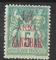 Zanzibar N° 17a Surcharge Rouge 1/2 Anna Zanzibar Sur 5c Vert, Neuf Avec Charnière - Ungebraucht